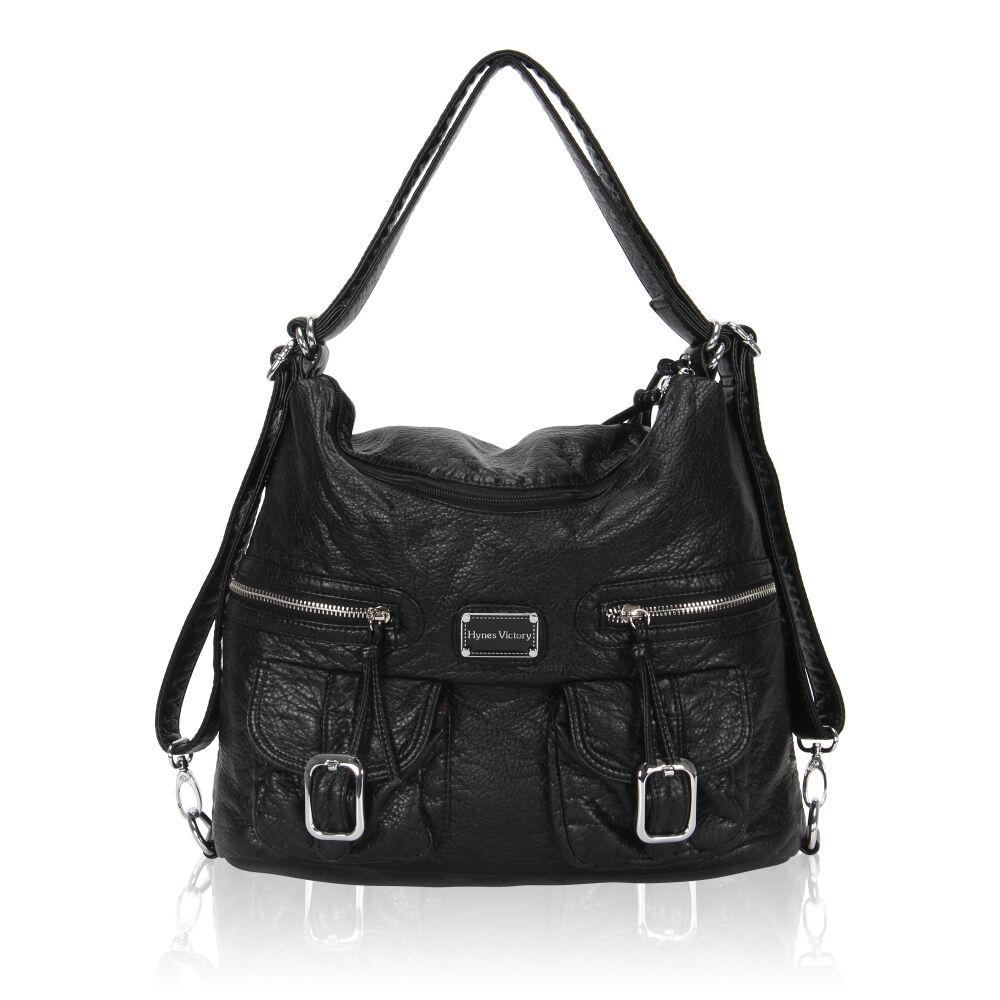 Convertible Women Slouch Shoulder Bag Backpack Vegan