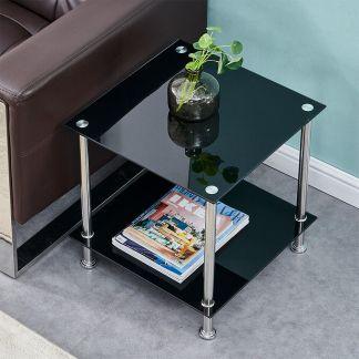 2 Tier square Sofa Tea Coffee Table W/ Storage Shelf Living Room Furniture New