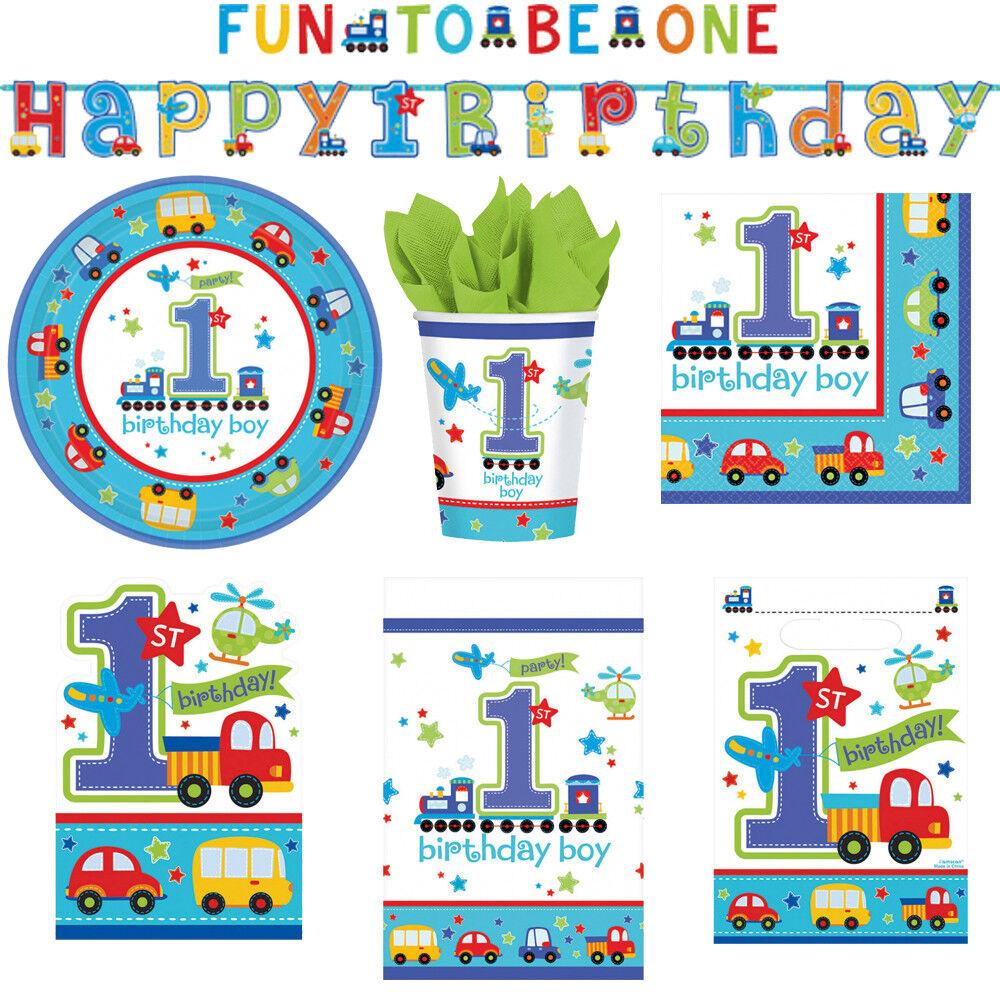 1. Kindergeburtstag Junge Fahrzeuge Deko Party Dekoration Geburtstag NEU