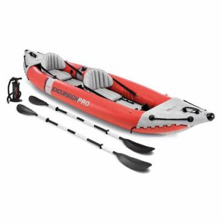 Intex Excursion Pro Inflatable 2 Person Vinyl Kayak with 2 Oars and Pump, Red