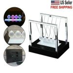Newtons Cradle Led Light Up Swing Energy Office Science Toys Games Balance Balls