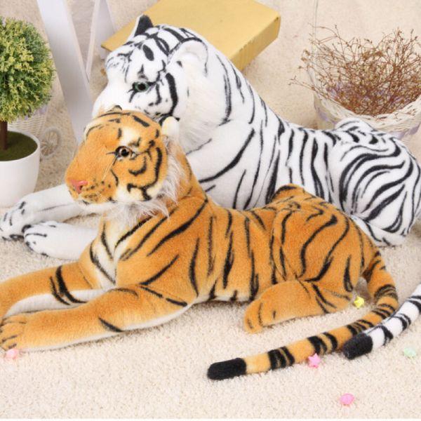 Realistic Plush Animal Tiger Yellow White Hairy Soft