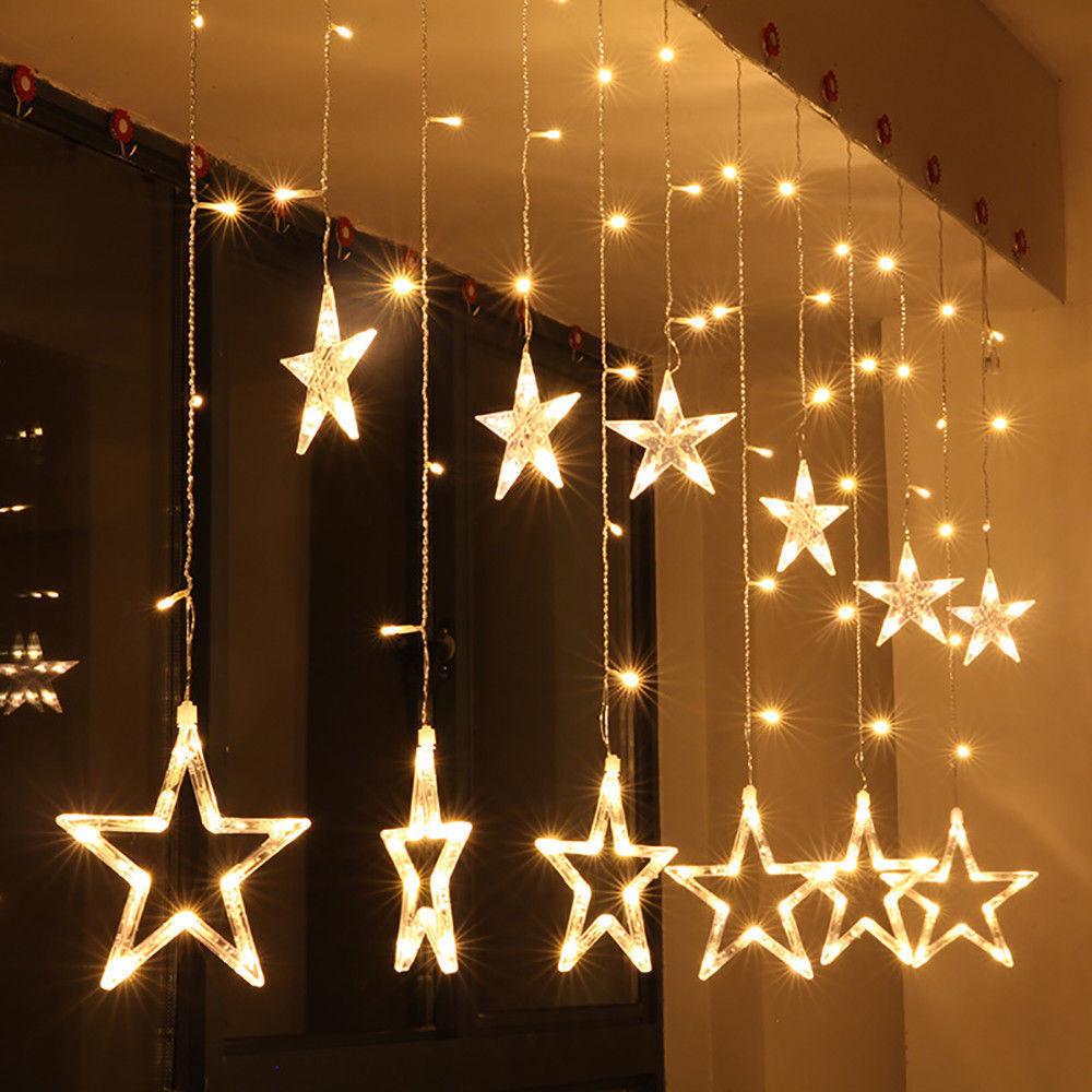 LED Lichterkette 12 Warmweiss Sterne Lichtervorhang Weihnachten Party Deko