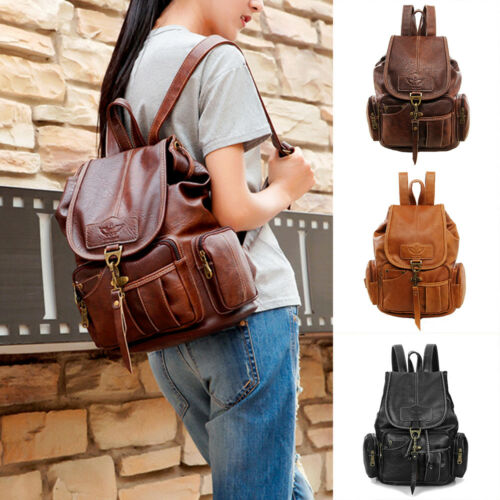 Vintage Womens Leather Backpack Shoulder School Shoulder Satchel HandBag Travel 1