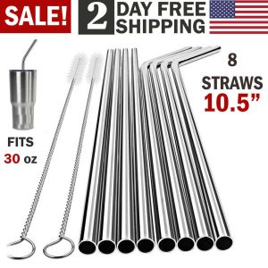 10.5 Stainless Steel Straws | Easy To Clean and Reusable‎