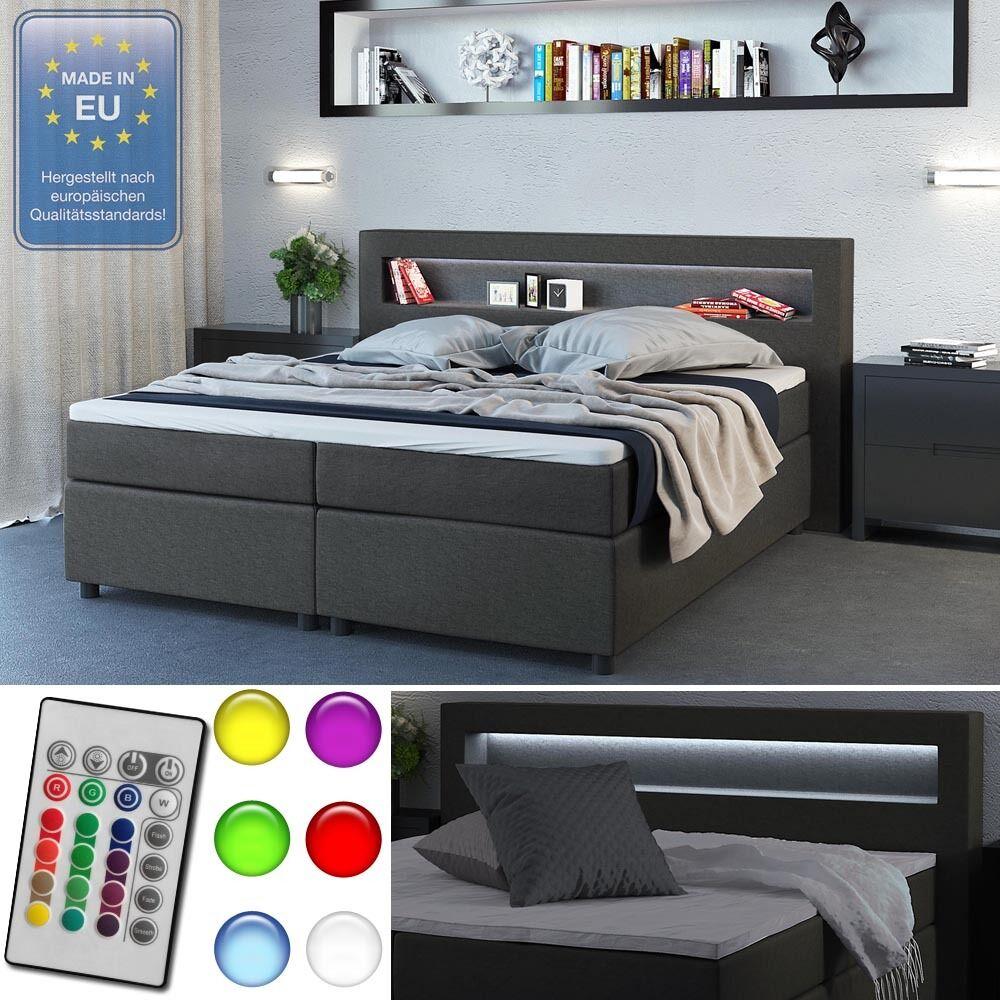 Design Boxspringbett 180x200 cm H2 LED Doppelbett Bett Hotelbett Ehebett grau