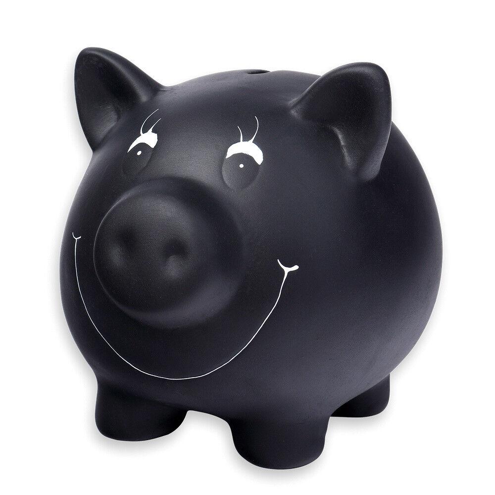 Schramm® Sparschwein schwarz aus Keramik beschreibbar mit Kreide Spar Schwein