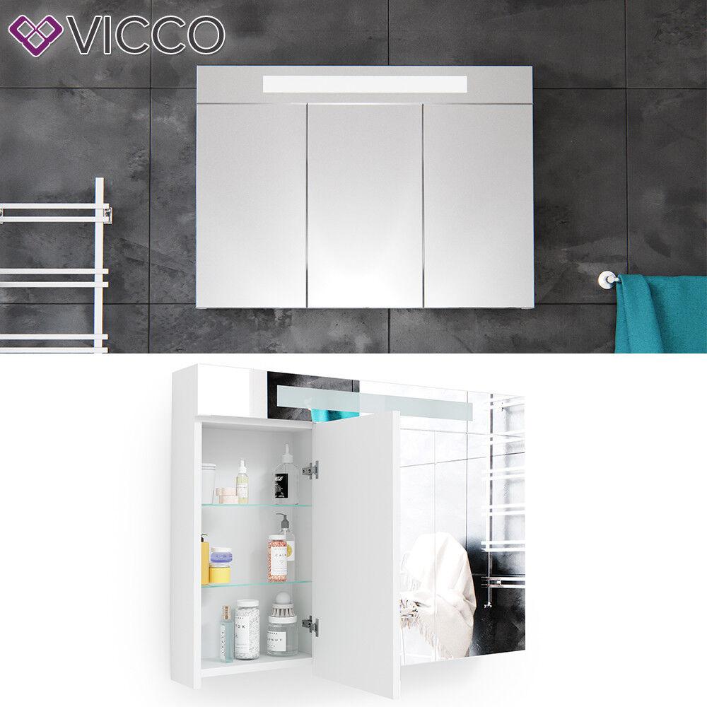 VICCO 3D LED Spiegelschrank Weiß Badschrank Badspiegel Badezimmerspiegel 90 cm