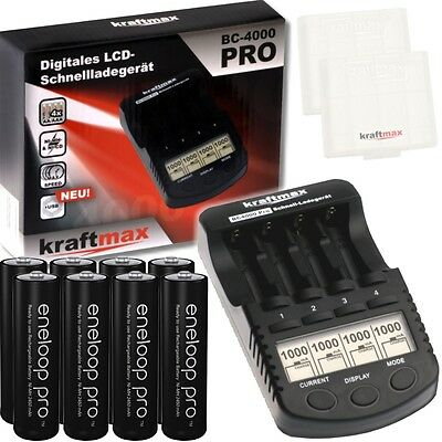 BC-4000 Pro Akku & USB Ladegerät + 8x Panasonic Eneloop PRO XX Mignon AA Akkus