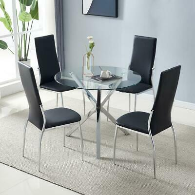 Dining Table Set Tempered Glass Round, Round Glass Top Dining Table With 4 Chairs