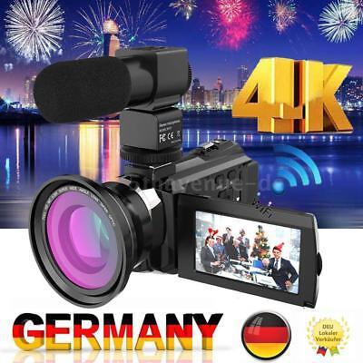 Andoer WiFi 3'' 4K 1080P 48MP Digital Videokamera Camcorder DVR DV+Objektiv+Mic