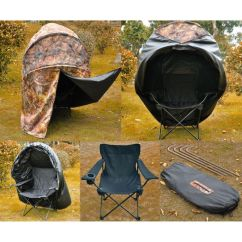 Duck Hunting Chair Bent Wood Pro Ground Blind Real Tree Camo Tent One Man Hunt Turkey Deer