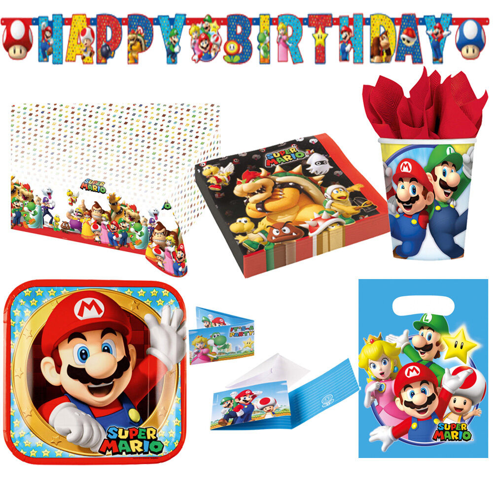 Super Mario Bros. Kindergeburtstag Auswahl Deko Party Dekoration Luigi NEU
