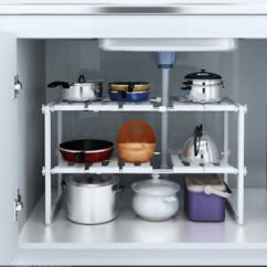 Under Kitchen Sink Organizer Ikea Cabinets Prices Ebay 2 Tier Expandable Shelf Rack Storage Tool Holders