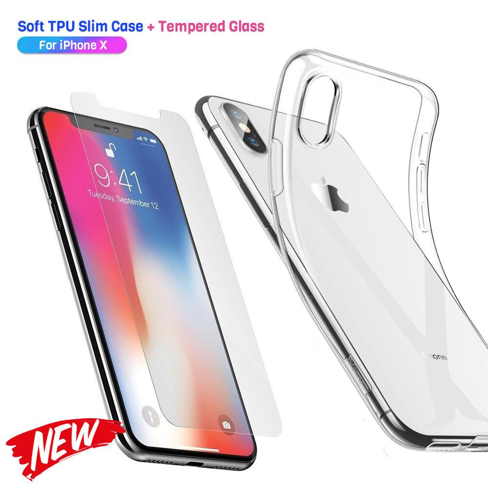 Panzerfolie für iPhone XS X Transparent Handy Hülle Silikon Case Schutz Glas