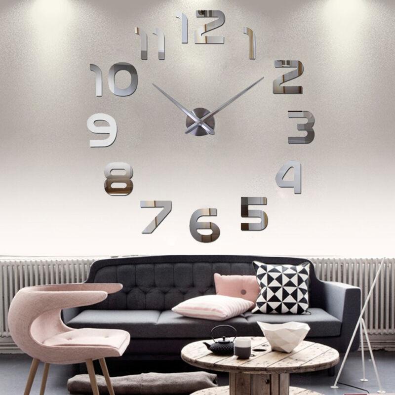 Wand Uhr Wohnzimmer Wanduhr Wandtattoo Aufkleber Deko XXL XL 3D-Design  Silbern