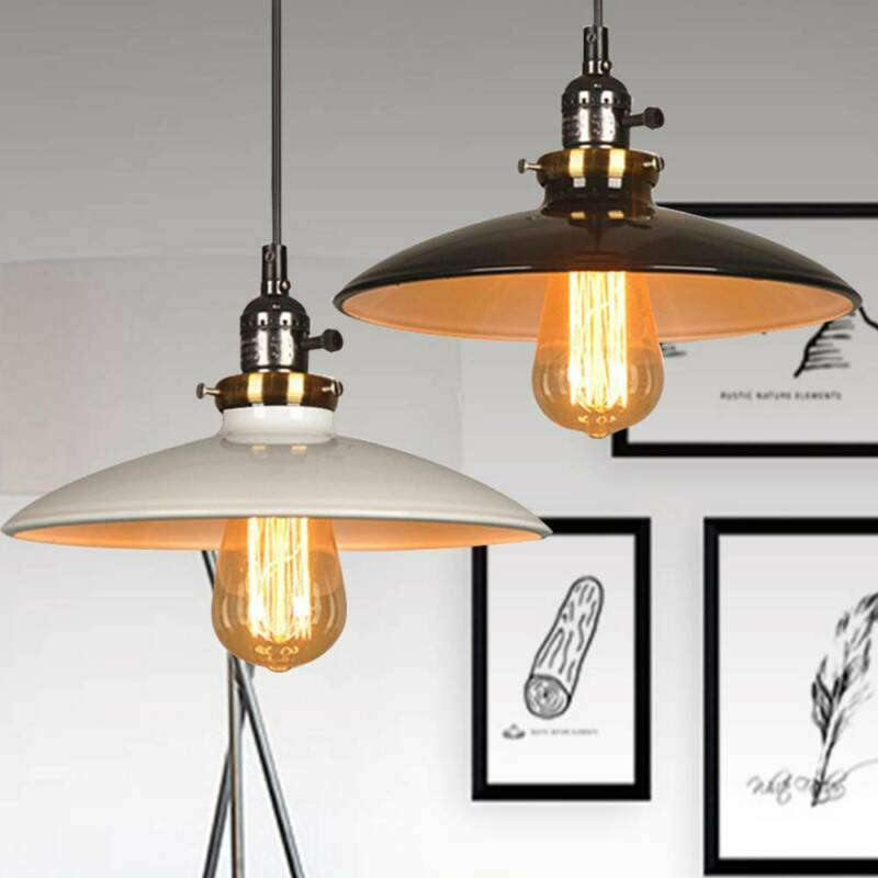Retro Ceiling Light Shade Easy Fit Metal Pendant Lampshade Industrial Kitchen Ebay