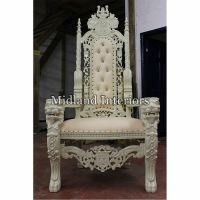 2 x NEW Lion King Throne Chair (175cm) Ivory White Asian ...