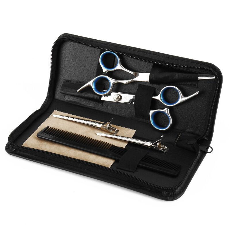 6PCS Scheren-Set Haarschere Bartschere Effilierschere Friseurschere + 2 Clips DE