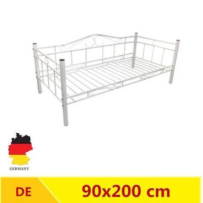 Modern Metallbett Tagesbett Einzelbett 90x200 cm Bettgestell Bett weiß R7N3