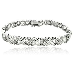 0.50Ct TDW Diamond X & Heart Bracelet