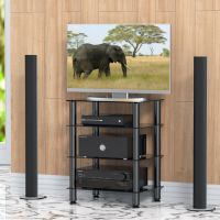 Media Component Stand Audio Cabinet With Glass Shelf for ...