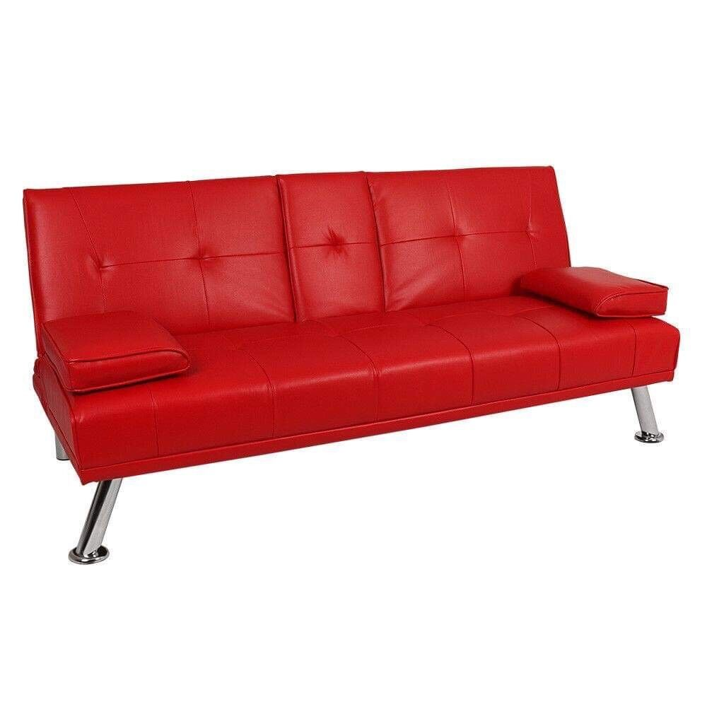 faux leather sofa bed uk sofas and loveseats for small es brand new in box red basford