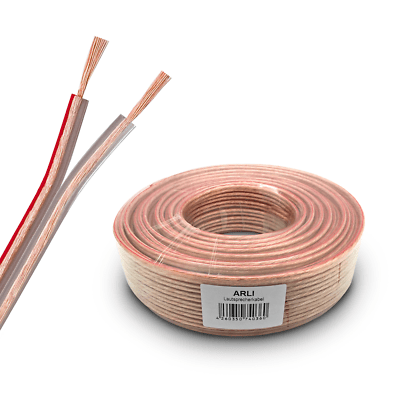 Lautsprecherkabel Boxenkabel 2 x 4 mm² 50 m CCA Kupfer transparent Audio Kabel
