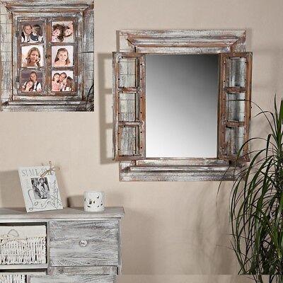 Wandspiegel Spiegel Bilderrahmen Fensterladen Fotorahmen Holz 64cm Ablage Deko