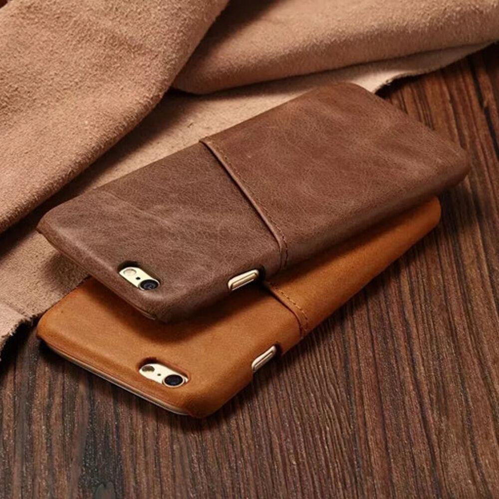 Echt Leder iPhone 5 5S SE 6 6S 7 Plus Handy Hülle Schutz Case Panzer Glas Folie