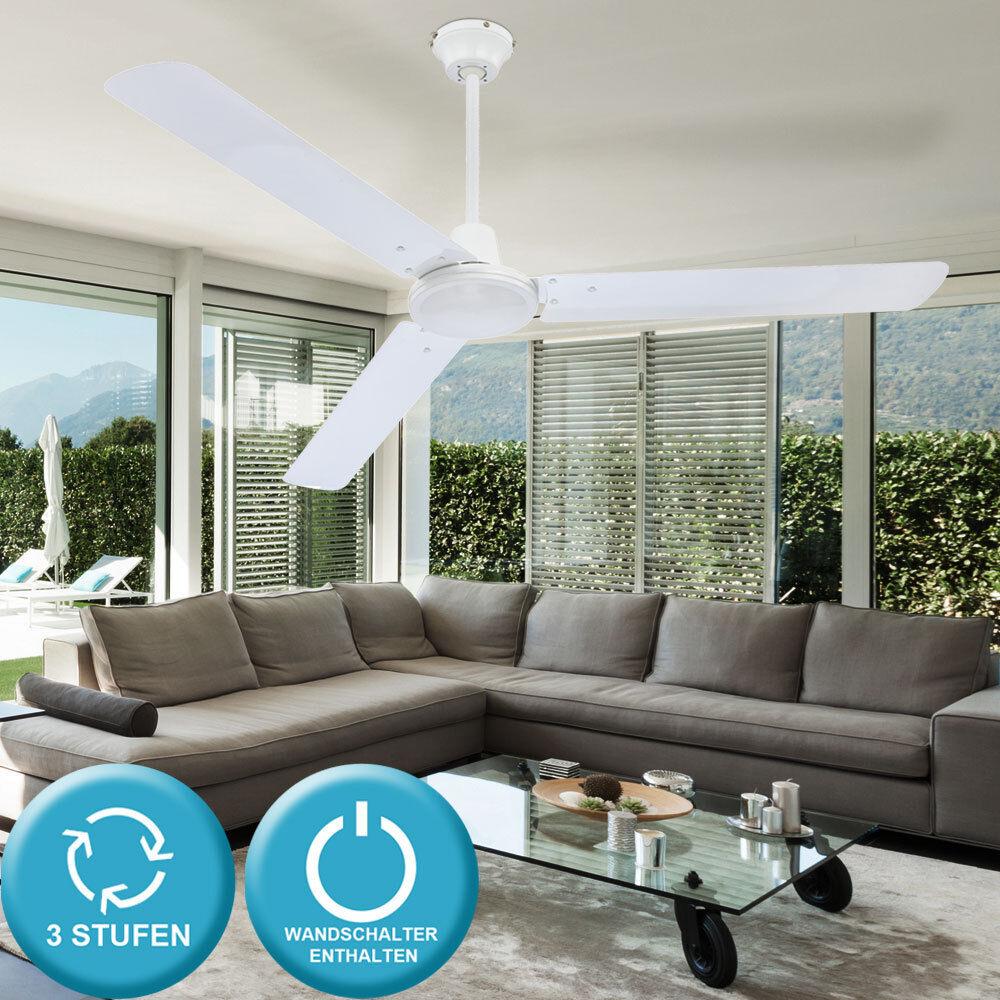 Deckenventilator mit Schalter Ventilator Weiß Windmaschine Decken Lüfter 142 cm