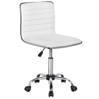 White PU Leather Low Back Armless Desk Chair Ribbed Armless Swivel Task Chair