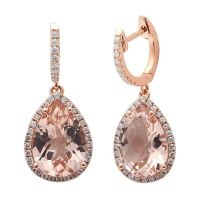 4.78CT F VS Morganite & Diamond Drop Dangle Halo Style ...
