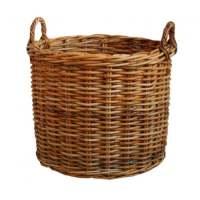 Honey Rattan Round Wicker Log Basket Fireplace Wood ...