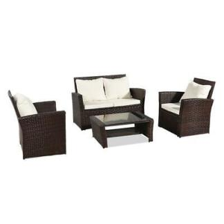Patio Wicker Furniture Outdoor 4 PCS Rattan Sofa Table Garden Conversation Set