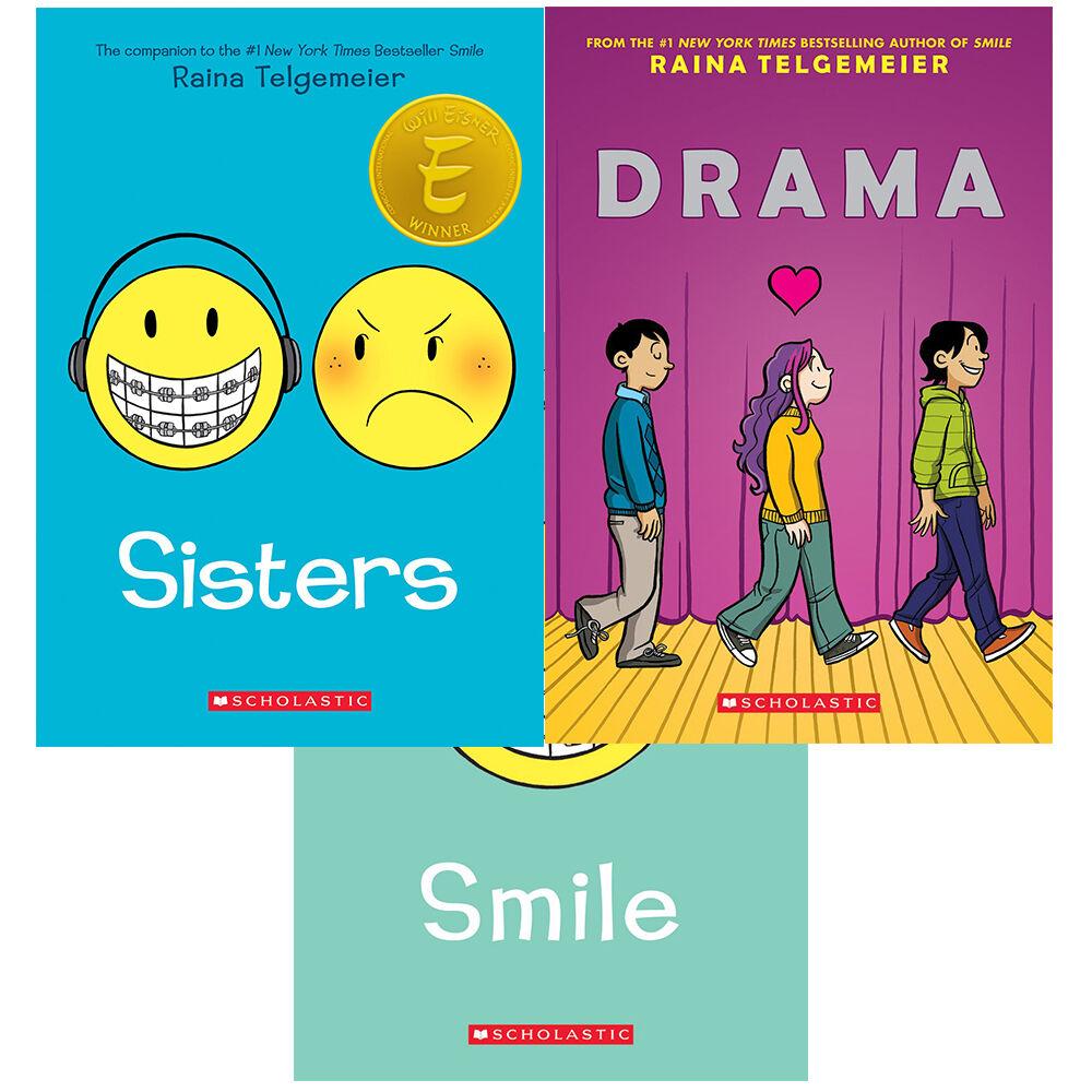 Raina Telgemeier 3 Books Collection Set (Sisters,Smile,Drama) Paperback New  Pack | eBay