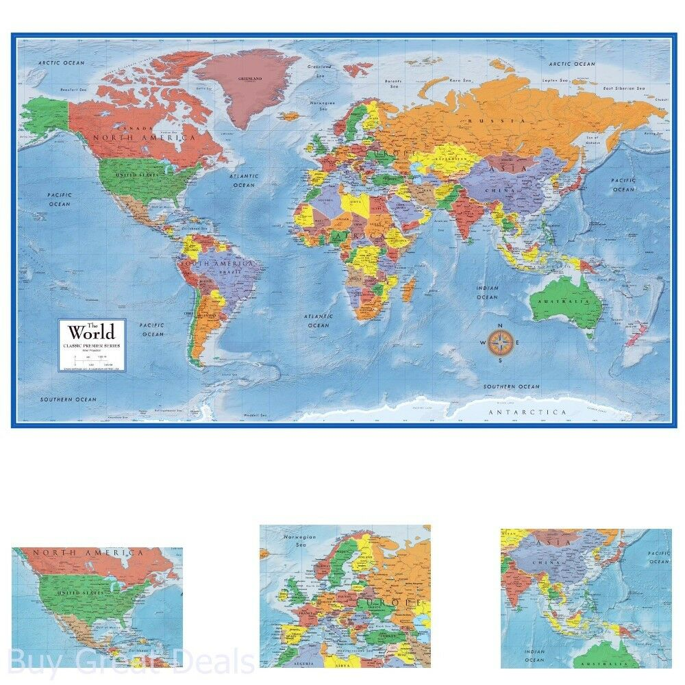 map poster size wall decoration large