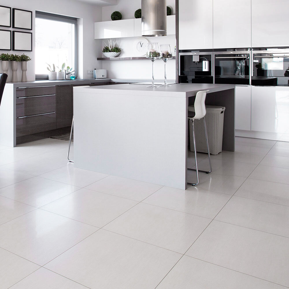 OL White Square Polished Porcelain Floor  Wall Tiles