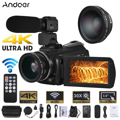 WiFi 4K Ultra HD 24MP 30X ZOOM Nachtsicht DV Digital Videokamera Camcorder DVR