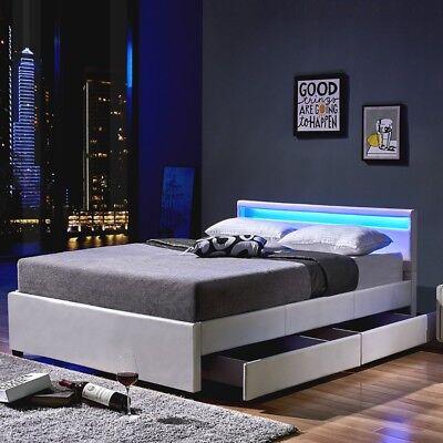 LED Leder Bett Polsterbett Farbe WEIß SCHWARZ GRAU mit Lattenrost op. Bettkasten