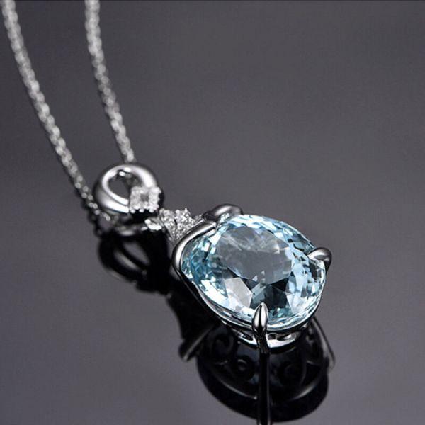 Natural Gemstone Aquamarine Romantic Pendant & Necklace