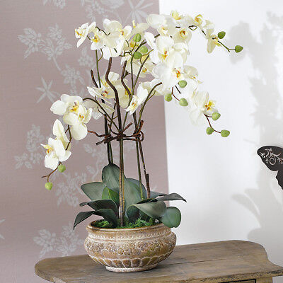 "Kunstpflanze Orchideentopf ""Antik"" Kunstblume Dekoblume Dekopflanze Deko Blume"