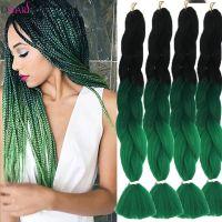 24'' Black Ombre Green Kanekalon Jumbo Crochet Synthetic ...