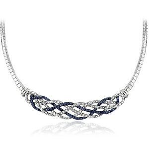 1/4 Ct Blue & White Diamond Weave Frontal Necklace