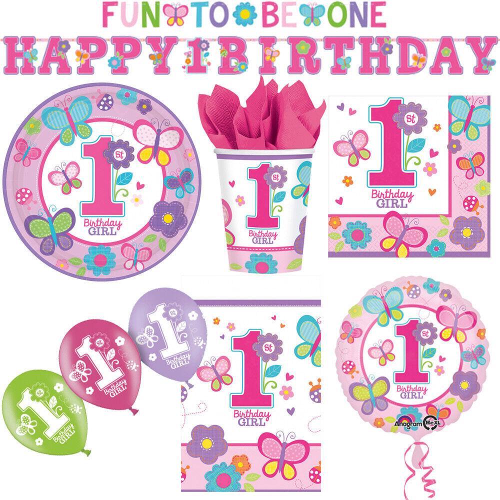 1. Kindergeburtstag Schmetterling Mädchen Deko Party Dekoration Geburtstag NEU