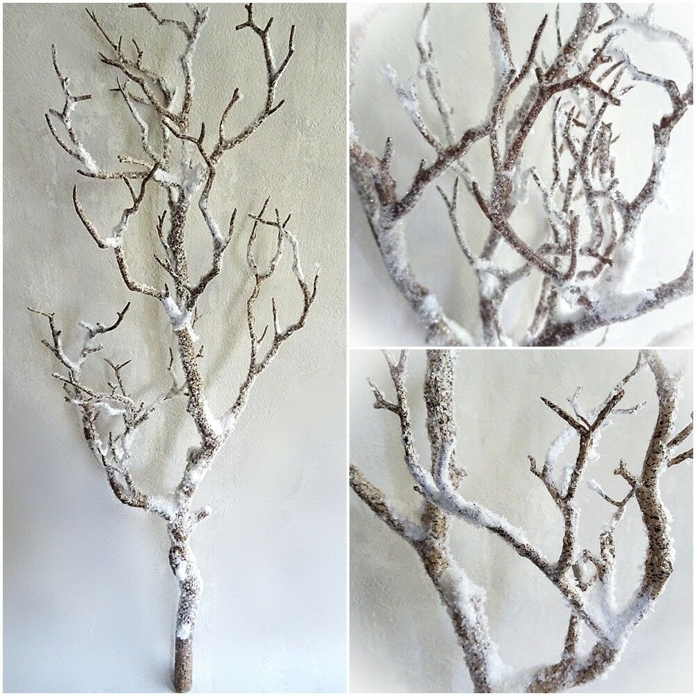 Dekoast 70 cm mit Schnee künstlicher Dekozweig weiß braun Kunstast Kunstzweig