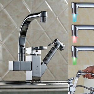 LED Pull Out Spray Swivel Mixer Tap Hand Held Faucet