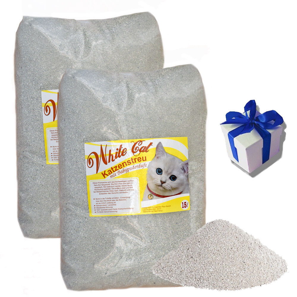 2 x 15 L White Cat Katzenstreu mit Babypuder Duft Klumpstreu staubarm + Geschenk