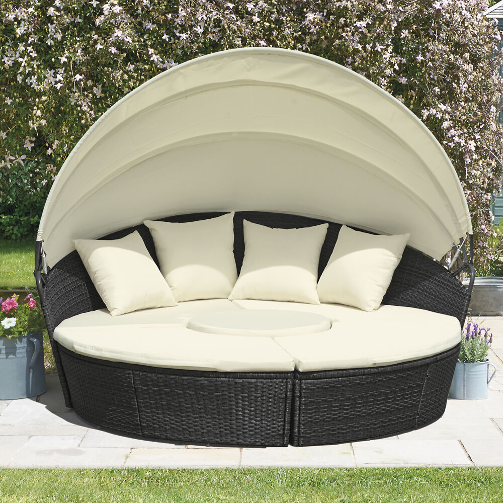 Rattan Daybed  Table Garden Furniture Outdoor Patio