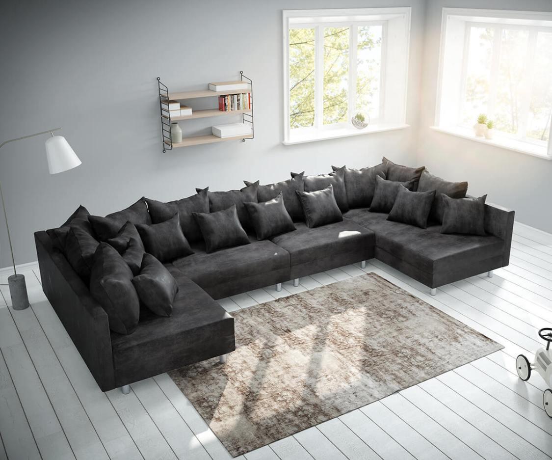 Couch Clovis XL Anthrazit Antik Optik Wohnlandschaft Modulsofa by DELIFE